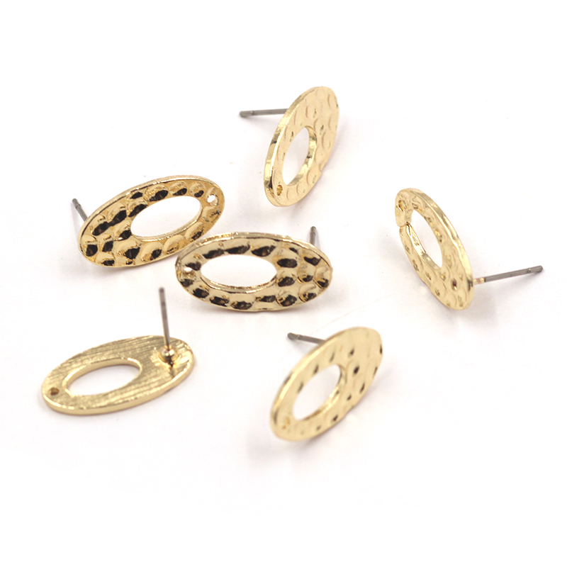 10pcs/lot 18*10mm Retro Gold Oval Shape Hollow Earring Base Connectors Linker For DIY Fashion Earrings Accessories