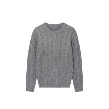 Men's Knitted  Crew-Neck Cable Pullover Acrylic/Wool Sweater
