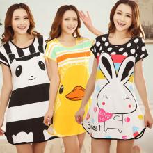 Summer Cute Cartoon Women Sleepwear Leisure Short Sleeve Printing Nightdress Women's Nightgown Sleepwear Night Dress