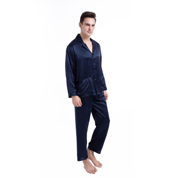 Men's Silk Long Sleeve Pajama Set 2 Piece