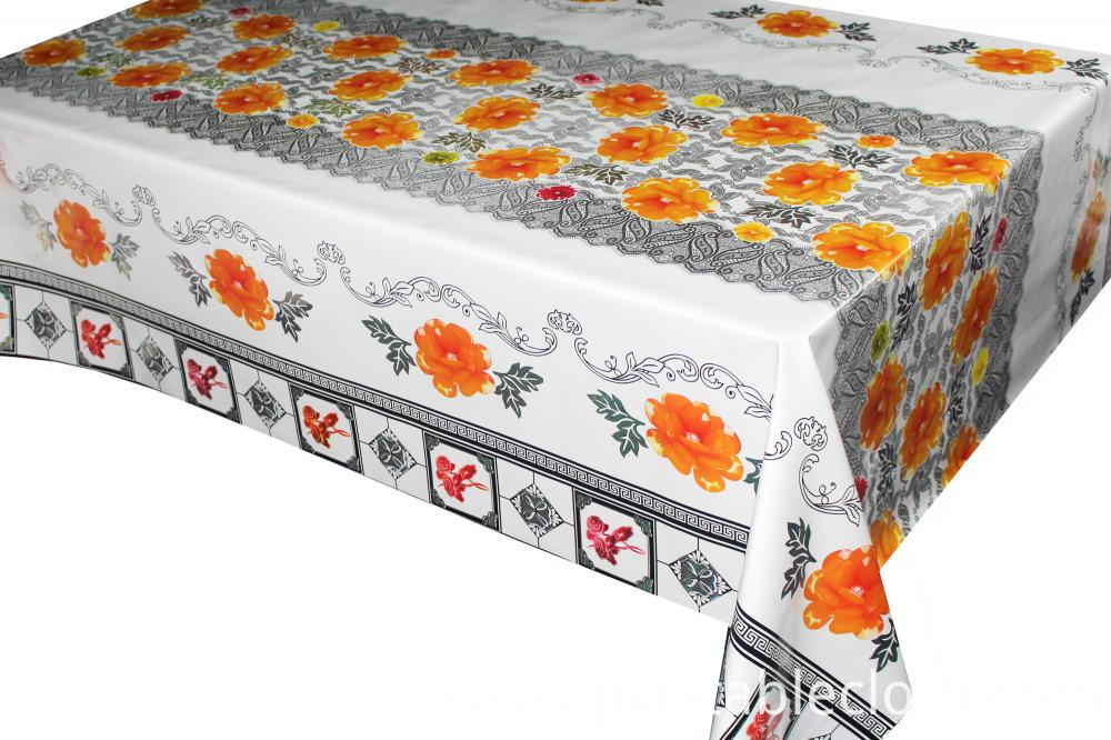 Transfer Printing Tablecloth with Silver/Gold