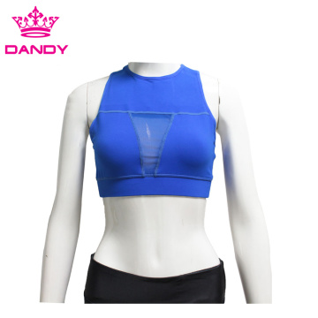 Blue female yoga bras