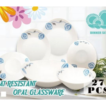Glass Tableware Set With Floral Pattern
