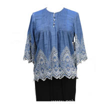 Women's Tencel Denim Bordering Embroidery Blouse