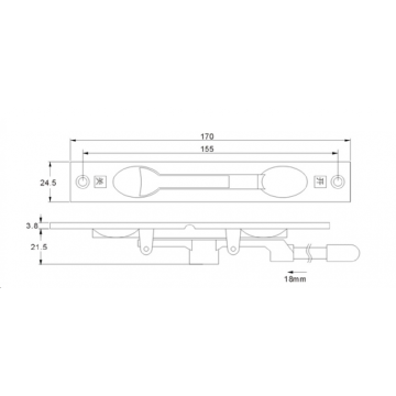 Aluminium door hardware door bolt flush bolt square