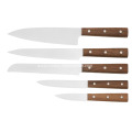 Kitchen knive set with walnut wood handle