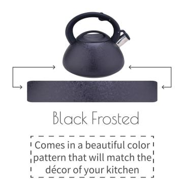 Black Frosted Stainless Steel Whistling Stovetop Tea Kettle