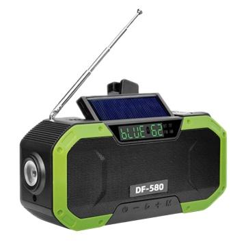 Portable IPX6 Waterproof Hand Crank Solar Radio Multifunction Emergency Bluetooth Speaker Support SOS Alarm AM/FM NOAA