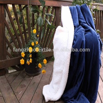wholesale thick black sherpa throw blanket in lambswool