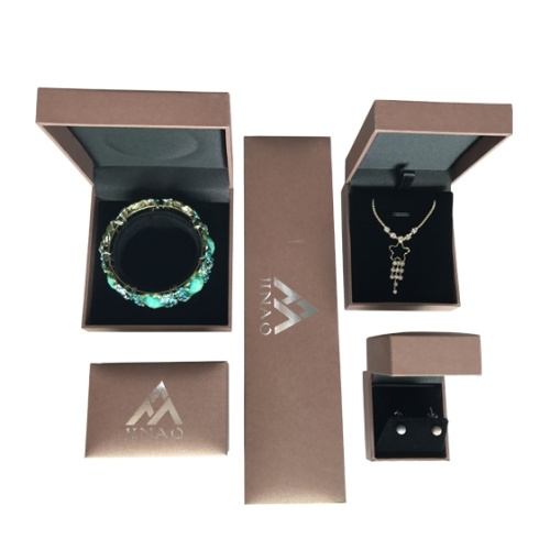 brown earring and bracelet boxes set