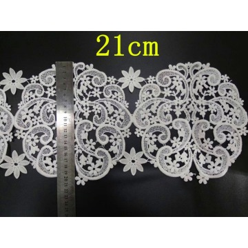21cm milk fibre cashew nut flower embroidery lace trim,XY-171026B