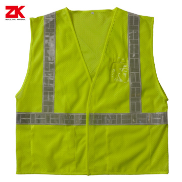 Mesh safety vest with PVC id pocket