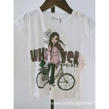 girls cotton knit placement print short sleeve top