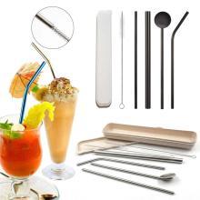 5pcs Metal Straws Metal Straw Set Stainless Steel Reusable Or Drink Juice Wine,100PCS Natural Wheat Straw Biodegradable Straws