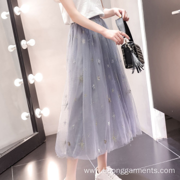 Long Elegant Women Gauze High Waist Skirt