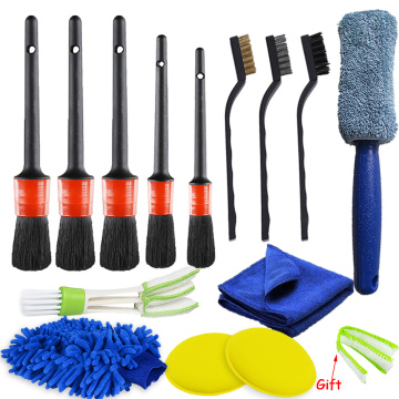 14/10/5 Pcs Car Detailing Brush Cleaning Gloves Dirt Dust Clean Brushes For Auto Interior Exterior Leather Air Vents Wheel Wash