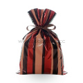 Red Stripe Christmas Plastic Drawstring Gift Packing Bags