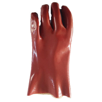 Brown  Pvc Coatd Glove.Smooth finish. 30cm