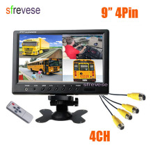 "Vehicle Car Rear View 9"" LCD Monitor 4CH Quad Split Screen 4 Pin For Bus Truck Caravan Van Motorhome Camper 12V-24V"