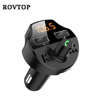 Car Fm Transmitter Bluetooth 5.0 Car Mp3 Player Modulator Adapter Battery Voltage TF Card Hands-free Dual USB Smart Chip T66
