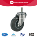 4 Inch Threaded Stem Swivel Gray Rubber PP Core Industrial Caster