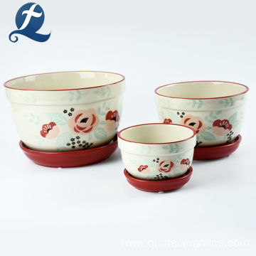 Handmade Painted Three Layer Ceramic Flower Pots
