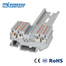 Din Rail Terminal Block PT 1.5-QUATTRO 4 Conductor Push In Spring Screwless Feed Through Wire Conductor 10pcs wire connector