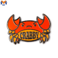 Metal Custom Crabby Pin With Colored Enamel
