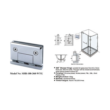 Brass Frameless Shower Door Hinges 360 Degree