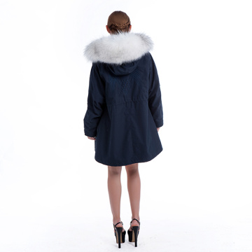 Mink inner fur collar pike coat