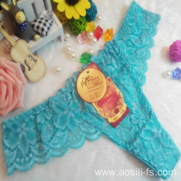 OEM wholesale China hot sale sexy thong comfortable sky blue lace non-trace t-back elastic fancy underwear 002