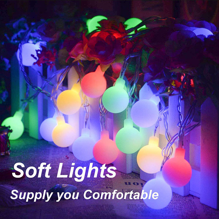 battary operation cotton ball string light