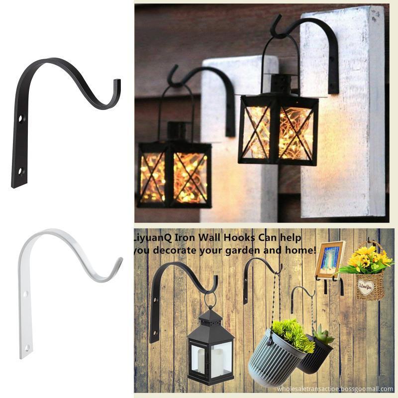 3 4pcs Iron Garden Wall Hook Hanging Plant Bracket Flower Basket Decoration Hanger Hook Shelf Stand Holder Arc For Lantern