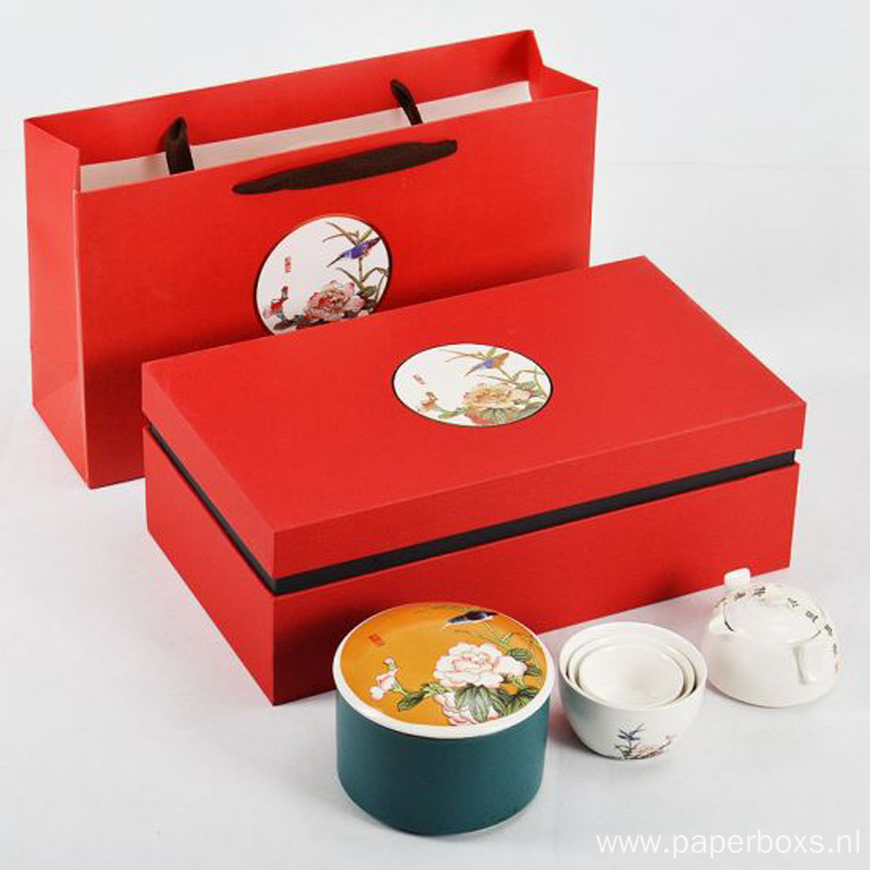 Recycled Magnetic Tea Packaging Gift Red Boxes