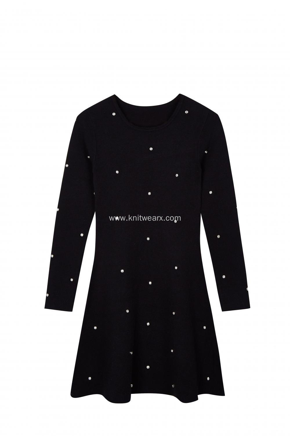 Women's Knitted Crew-Neck Crystal button Midi Party Dress