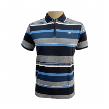 Men's knit yarn dyed stripe polo shirts