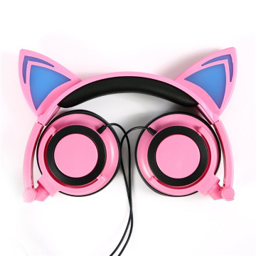Kids Headphones with LED Light Up Cat Ear Earphone 3.5mm On Ear Audio Headset for Kids
