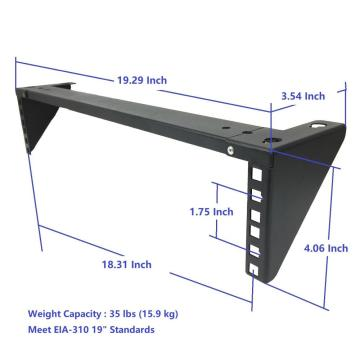 3U 19in steel vertical wallmount equipment rack bracket