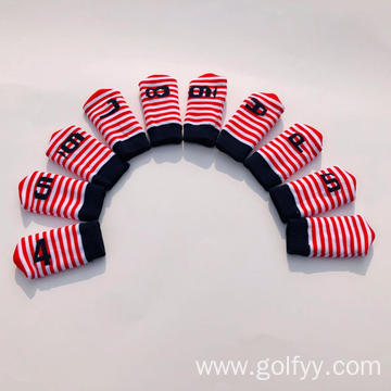 Ten sets of knitted golf iron sets