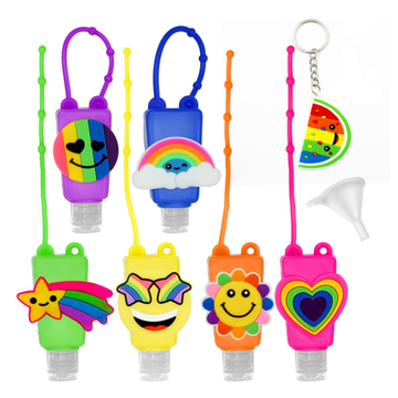 Leak Proof Rainbow Portable Silicone Hand Sanitizer Sleeve