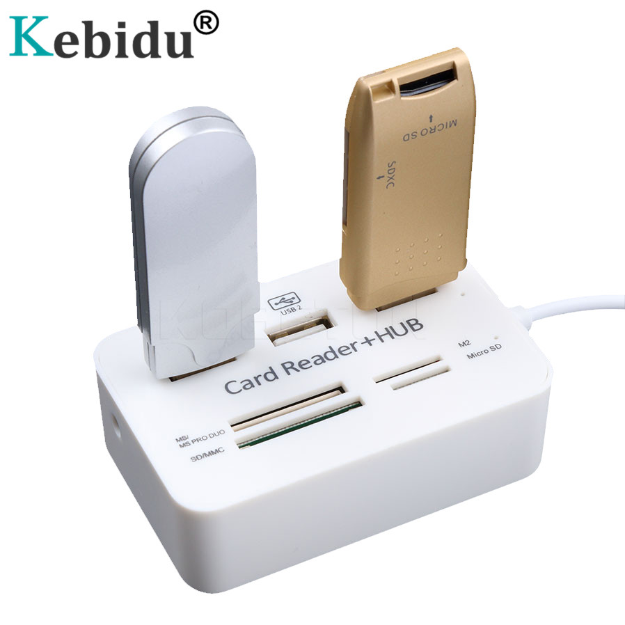 Kebidu USB Hub 3 Ports HUB Splitter HUB 2.0 With SD/TF/M2 Card Reader For i8 Keyboard PC Laptop Camera Micro SD Card