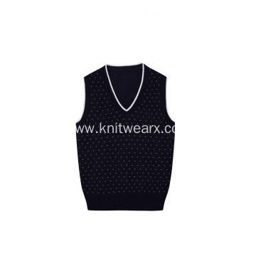 Boy's Knitted 100%cotton Jacquard Spot School Vest