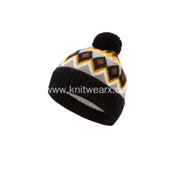Boy's Girl's Knitted Jacquard Faux Fur Pompom Hat