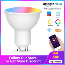 GU10 Smart Bulb Wireless WiFi App Remote Control RGBW 5W Led Dimmable Compatible With Alexa & Google Home Bedroom Light Remote
