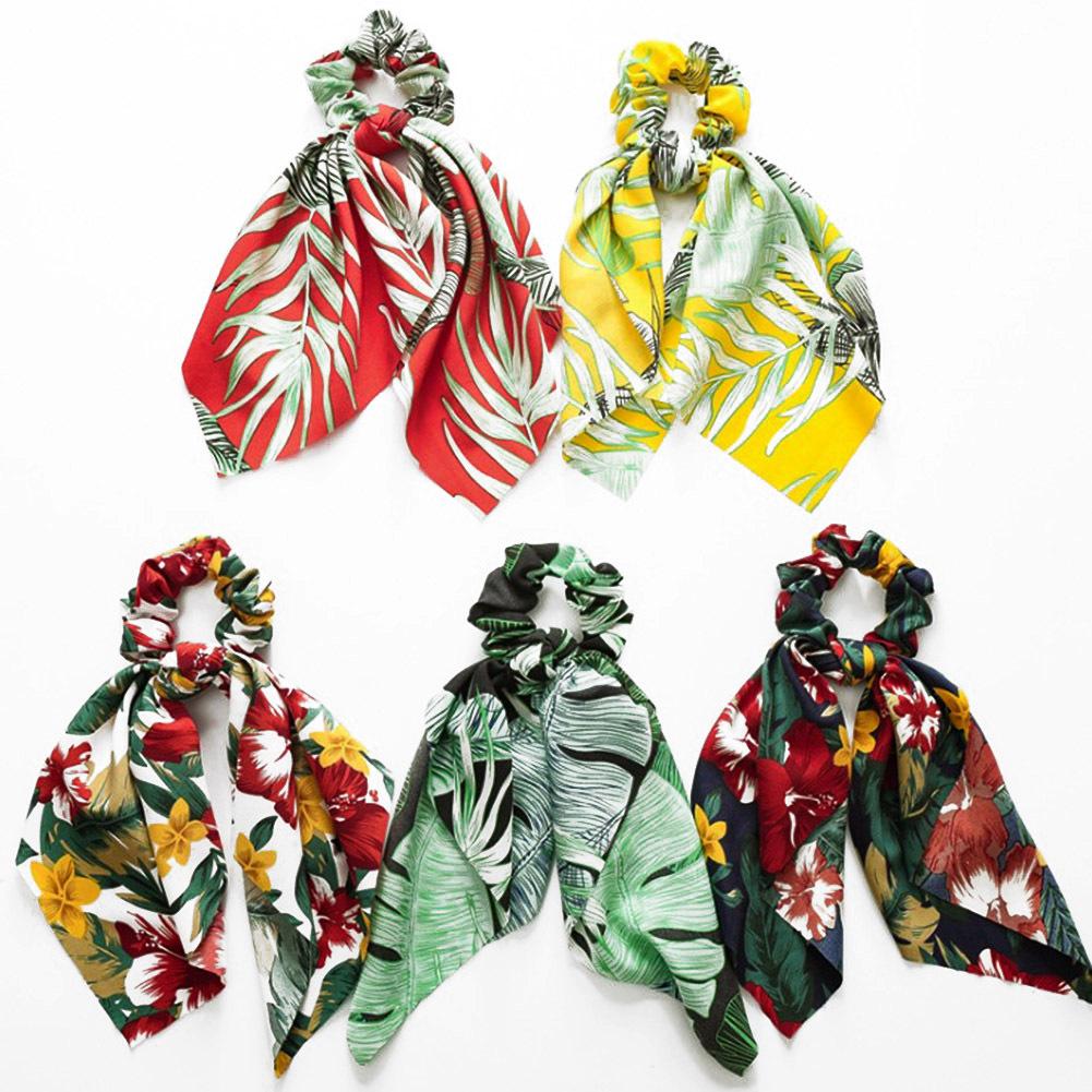 Bohemian Floral Printed Long Streamers Elastic Hair Ribbon Bands Scrunchie Bow Knot Women Girls Hair Scarf Ties Hair Accessories