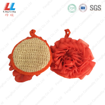 Circular orange mesh bathing sponge style