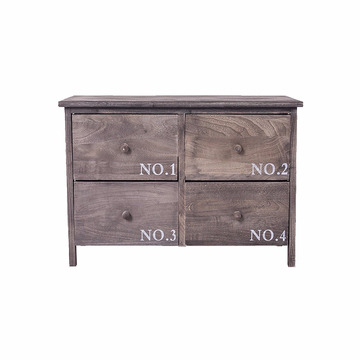 Sideboard Chest of Drawers 4 Drawers Wood Grey White Urban Style Entrance Bedroom