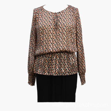 Multicolor Printed Peplum Long Sleeve Top