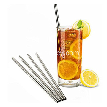 Set 10 Stainless Steel Straws Straight Reusable Straws
