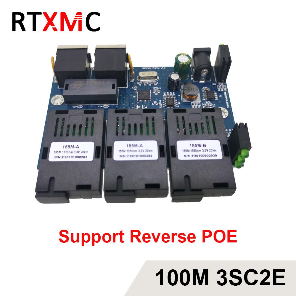 3SC2E Reverse POE 100M Fast Erhetnet 10/100M Ethernet Switch 3 Fiber Port SC 25KM2UTP RJ45 FiberOptical Switch PCBA with Adapter